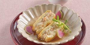 えびとお米の豆腐はさみ焼き