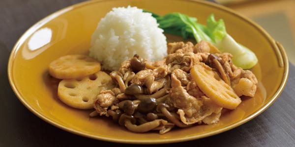 秋野菜と豚肉のコチュジャン炒め